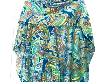 Turquoise Teal Paisley Ladies Ruana Wrap (one size fits all)