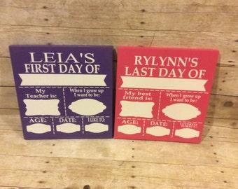 First Day of School - Last Day of School - Personalized First Day of School - Back to School - School Photo Prop - Custom Dry Erase Board