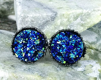 Rocky Blue Druzy Earrings - Druzy - Drusy Earrings - Bridesmaid Gift - Stud Earrings - Druzy Jewelry - Blue - Earrings - Druzy Earrings -