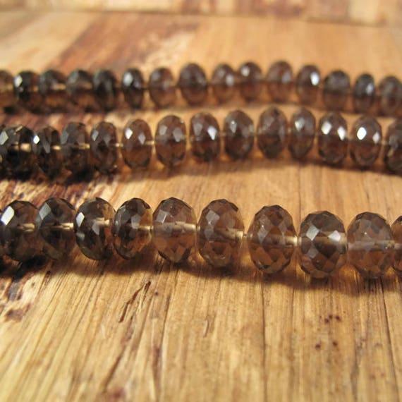 Large Smoky Quartz Beads, 6.5mm - 7mm Dark Brown Smoky Quartz Rondelles, 7 Inch Strand of Natural Gemstones for Making Jewlery (R-Sq1b)