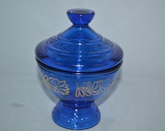 Pedestal bowl / cobalt blue / blue / blue glass / gold trim / covered bowl / blue pedestal bowl / vintage cobalt blue / vintage glass
