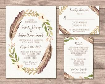 Printable Wedding Invitation Suite / Whimsy / Bohemian / Woodland / Wedding