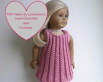 PDF PATTERN By Lavenderlore for 18 inch Dolls  Ribbed Sleeveless Dress will fit American Girl and other 18 Inch Dolls Instant pdf Download