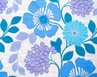 sturdy vintage fabric /  blue purple curtain  fabric