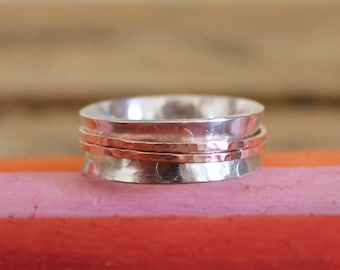 Sterling Silver and Copper Spinner Ring - 925 Sterling Silver spinner - Thumb ring -Silver spinner - Personalised - Worry Ring - fidget ring