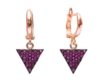 Triangle Drop Blue and Pink Earrings