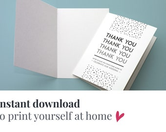Printable elegant wedding PDF thank you cards | Download Gatsby wedding thank you card PDF | Gatsby wedding thank you instant download