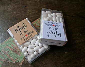 Wedding favors etsy mint to be set of 12 personalized favor labels tic tac box stickers junglespirit Gallery