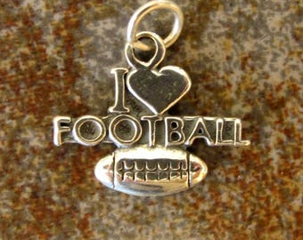 Sterling silver FOOTBALL charm. Textured charm. 16 x 20mm. Solid Sterling silver charm pendant. I Love Football charm