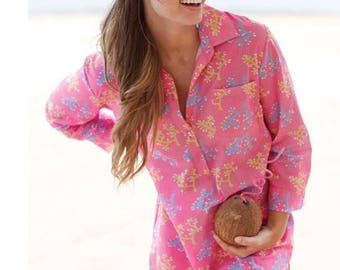 Pink Coral Seersucker Beach Shirtdress - Monogrammed Cover Up