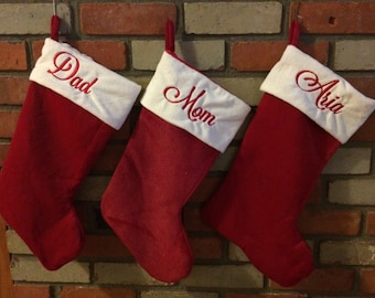 Personalized Christmas Stockings - Red Stockings - Name Stockings - Embroidered Stockings - Traditional Stockings