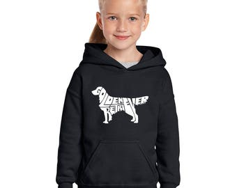 "Girl's Hooded Sweatshirt - Created using the Words ""Golden Retriever"""