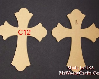 "5 12"" x 16"" 1/2"" thick Unfinished Wooden Crosses, Choose from 8 different styles, Ready to Paint, w/key holes. 121650-5"