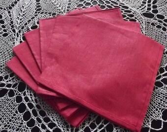 Six linen napkins. Napkins set. Red napkins. Table napkins. Red linen placemats. Linen napkins. Dinner Napkins. Swedish vintage.