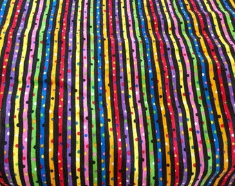 Black Background Striped Dotted Print Cotton Fabric | 2 Yards each by 45 inches wide
