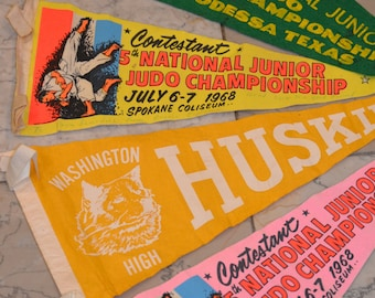 Felt Pennants, Judo Competition Pennants, Washington Husky Pennant