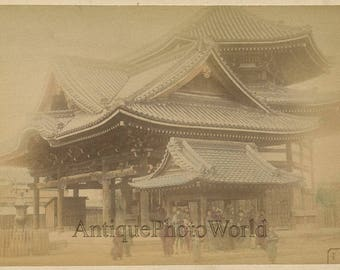 Japan temple people antique albumen hand tinted photo