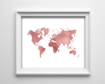"INSTANT DOWNLOAD 8X10"" printable digital art file-Home wall art decor-White and rose copper map of the world-Typography-Minimalist"
