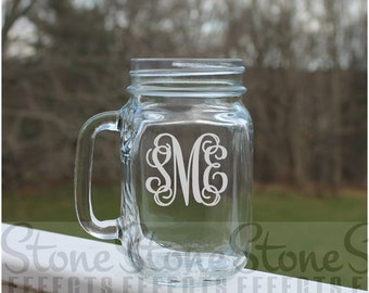 Etched mason jar, Mason Jar, Monogram, Etched mason jar  Mugs, 16oz -  Personalized, Etched Mugs, Wedding jars, beer mugs, Personalized mugs