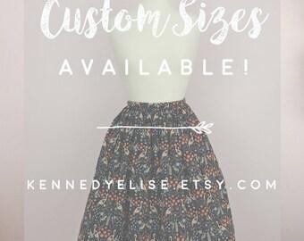 Custom 1950s 50s Inspired Novelty Print Full Skirt | Mid Century Full Gathered Modest Skirt | JW Clothing Retro Rockabilly Skirt