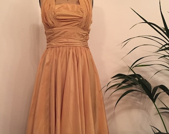 Stunning vintage 1950s apricot halterneck gathered and pleated taffeta evening dress
