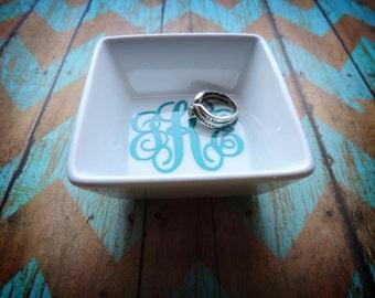 Monogrammed Ring Dish, Monogram Ring Holder, Custom Ring Holder, Custom Ring Dish, Wedding Ring Dish, Monogram Dish, Employee Gift