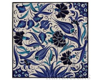 "Iznik Design Handmade Ceramic Tile - 20cm X 20cm / 8""x8"""