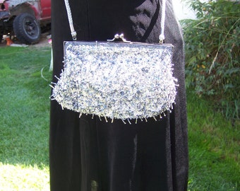 Vintage Beaded Purse, Beaded Bag, Silver Beaded Purse, Vintage Silver Bag, Evening Bag, Vintage Evening Bag, Sequin-covered Evening Bag