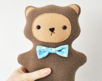 Plush Teddy Bear with Bow Tie - READY TO SHIP