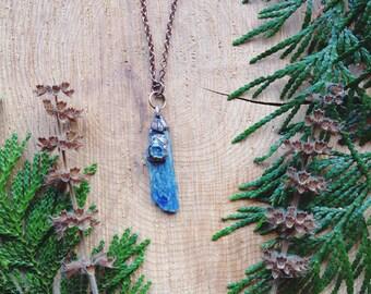 kyanite necklace, blue gemstones, electroformed necklace, copper necklace, gemstone healing, gifts for her, unique gifts, herkimer diamond