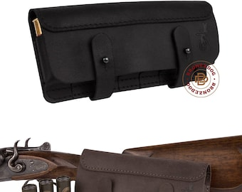 Cartridge Holder, Leather Belt Cartridge Holder, Handmade Shell Cartridge Pouch Shotgun Rifle