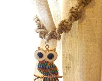 Owl Curtain Tie Backs, Owl Window Treatments, Macrame Curtain Tiebacks, Rustic Home Decor, Curtain Hold Backs, House Warming Gift, Owl Decor
