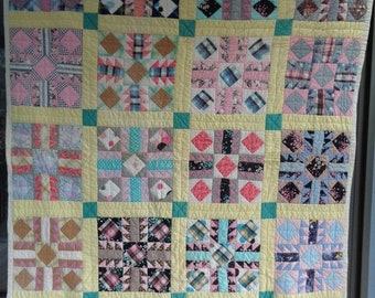 1930s Handmade Quilt - Made In Western NC  - Hand Stitched Patchwork Quilt - Cotton Throw Blanket