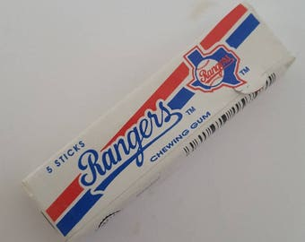 Vintage rare Major League Baseball collectible Chewing Gum with Texas Rangers wrapping, unopened circa 1990
