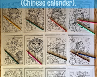 Chinese calendar Zodiac animals Chibi Doodle Whimsy Characters digital download Coloring pages for adult coloring by JennyLuanArt