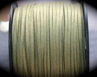1 meter of 3 light olive green flat suede cord x 1, 5mm