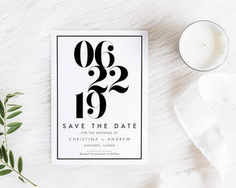 Modern Save the Date / Printable Save the Date / Digital Files Only / Bold Numbers / 5x7 / Postcard option