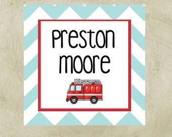 Personalized Gift Enclosure Cards, gift enclosre cards, gift enclosures, firetruck gift enclosures, firetruck gift tags, gift tags, tag