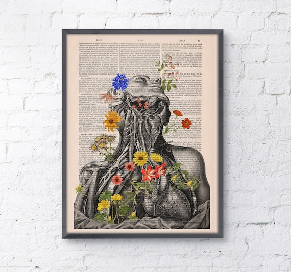 Flowery neck and head collage Printed on Vintage Dictionary Book page. art print,Wall decor art, Anatomy decor, SKA101
