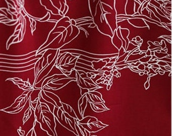 Beach Red Leaves, Retro Pattern, 30S Cotton 100% Fabric, by Yard