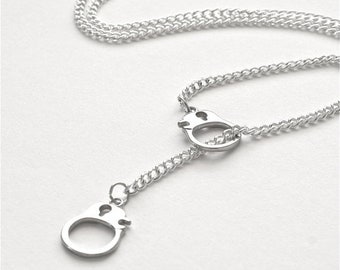 25%OFFSALE Silver Handcuff Necklace, Lariat Hand Cuff Necklace