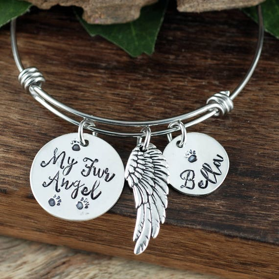 My Fur Angel Bracelet, Personalized Memorial Bangle Bracelet, Memorial Charm Bracelet, Remembrance Bracelet, Fur Baby, Wire Bangle
