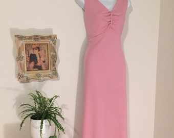 1970's Pretty in Pink Long Maxi Dress Size Large