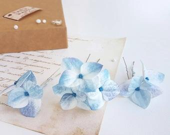 blue flower hair pin hydrangea flower hair piece blue wedding bridal clip blue flower hair accessory bridesmaid hair Calla lily accessory