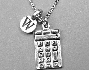 Personalized Calculator Necklace, Calculator Necklace, calculator charm, initial necklace, pewter, monogram letter, personalized jewelry