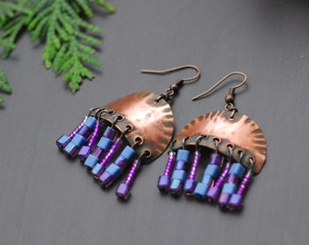 Ready to ship Purple Pink Copper earrings Wire earrings Mixed Metal Earrings Oxidized Copper Bohemian hoop earrings Hammered Copper Earrings