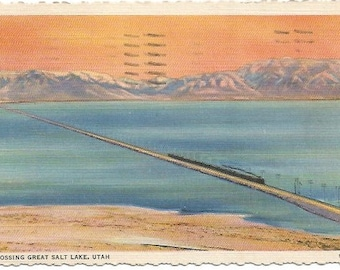 Orange Sunset Crossing the Great Salt Lake The Great Cut-Off Vintage Linen Postcard approx 1930's-1940's