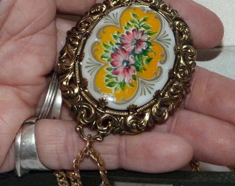 Vintage Pendant, Hand painted gold tone Statement Oversize