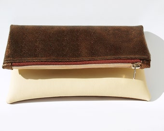 Bag fold over clutch purse elegant copper hand bag turn classic timeless