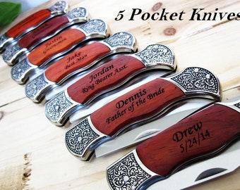 Groomsmen Gifts 5 Engraved Pocket Knife  - Groomsman Best Man Ring Bearer Gift